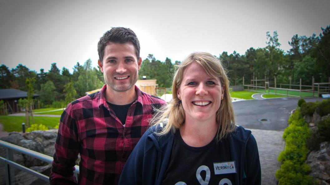Nils Bjørn Olsbu og Veronica Stormoen jobber begge på Stine Sofie Senteret.
