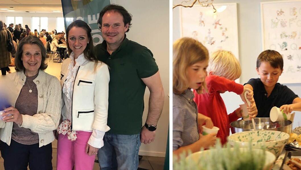 Davina Talen, Anne-Marie Talén og Christian Talén kunne i helga feire 30-årsjubileet til Davinas barnehave. Til høyre noen av gjestene på jubileumsfesten; tidligere barnehagebarn.