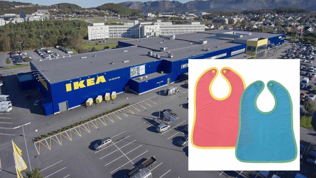 På grunn av kvelningsfare tilbakekaller IKEA barnesmekken MATVRÅ, blå/rød 2 stk.