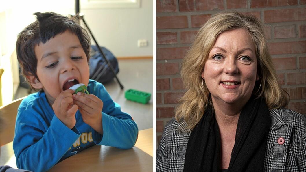 Sissel H. Hellandhar tatt doktorgraden med avhandlingenMatmot i barnehagen – En studie av toåringers matneofobi og kosthold og hvordan dette kan endres. Bildet er fra Hokus Pokus barnehage i Grimstad, en av barnehagene som deltok.