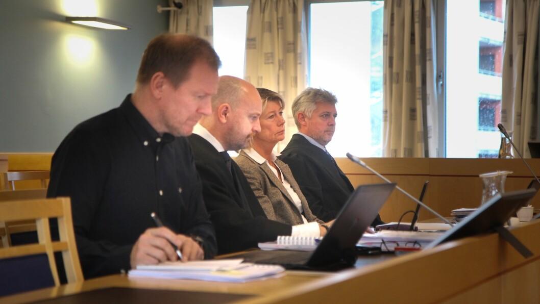 Bjørn-Kato Winther (PBL), advokat Einar Brunes, Mette Bakken (Samvirkebarnehagene) og advokat Hans-Are Nyheim.