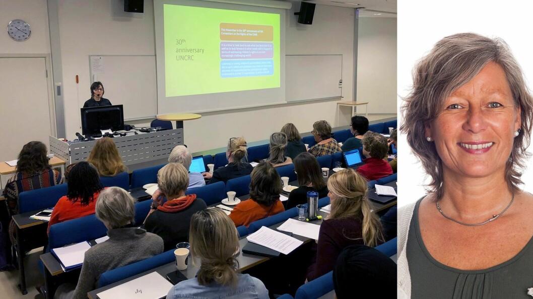 Karin Hognestad leder Sebuti -  senter for barnehageforskning, utvikling og innovasjon ved Universitetet i Sørøst-Norge, som denne uken arrangerte konferanse med barnekonvensjonen som tema.