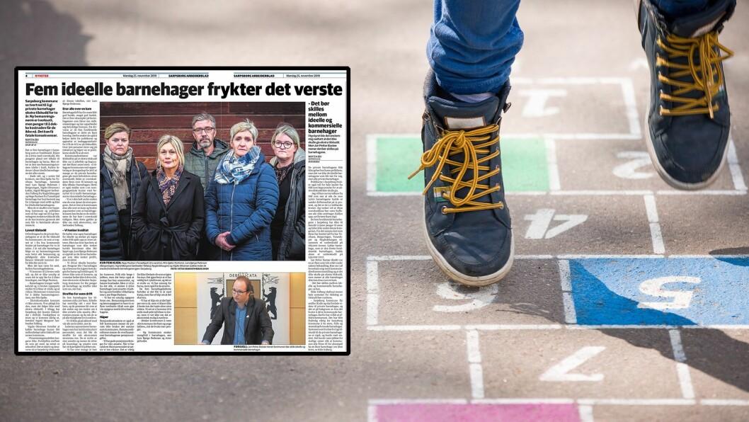 De foreldreeide barnehagene i Sarpsborg forteller i et oppslag i Sarpsborg Arbeiderblad om anstrengt økonomi.