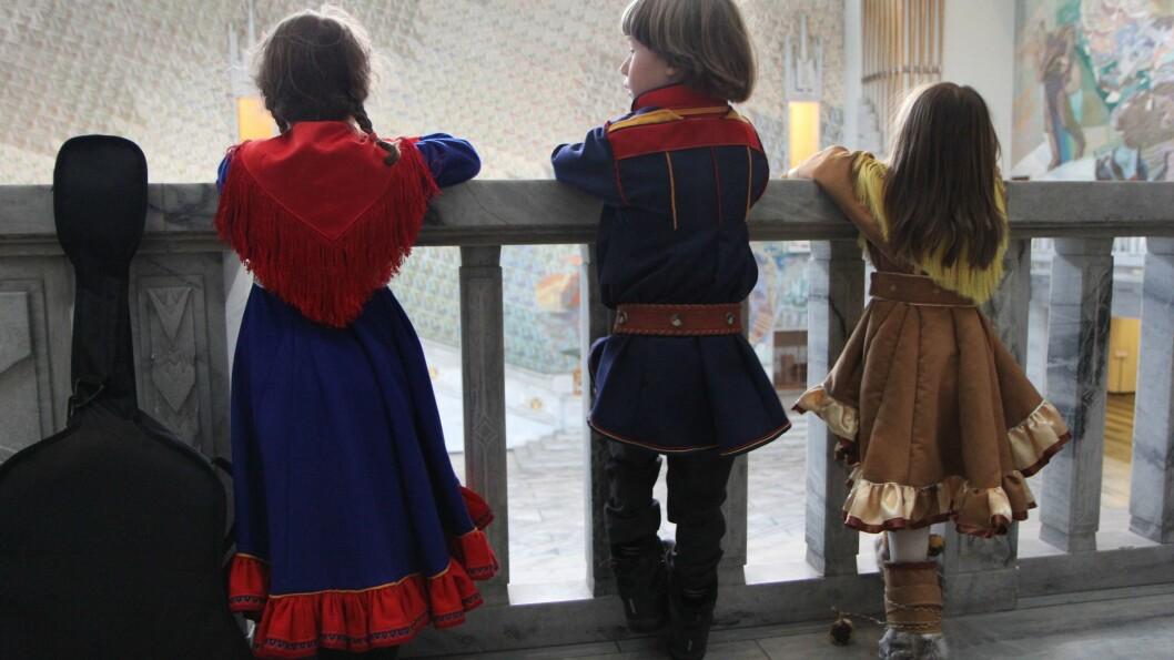 Samiske barn fra Cizas Samisk barnehage i Oslo, feiret Samefolkets dag i Oslo Rådhus 6. februar 2013.