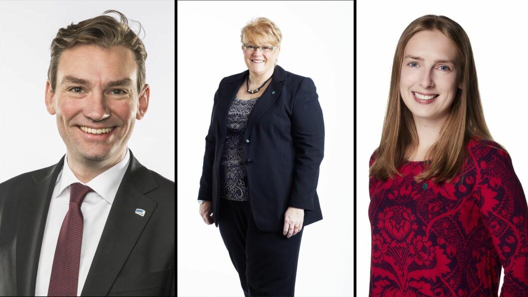 Fra venstre Henrik Asheim (H), Trine Skei Grande (V) og Iselin Nybø (H) blir utpekt som mulige kandidater til å ta over kunnskapsministerposten - hvis Jan Tore Sanner går over til Finansdepartementet.
