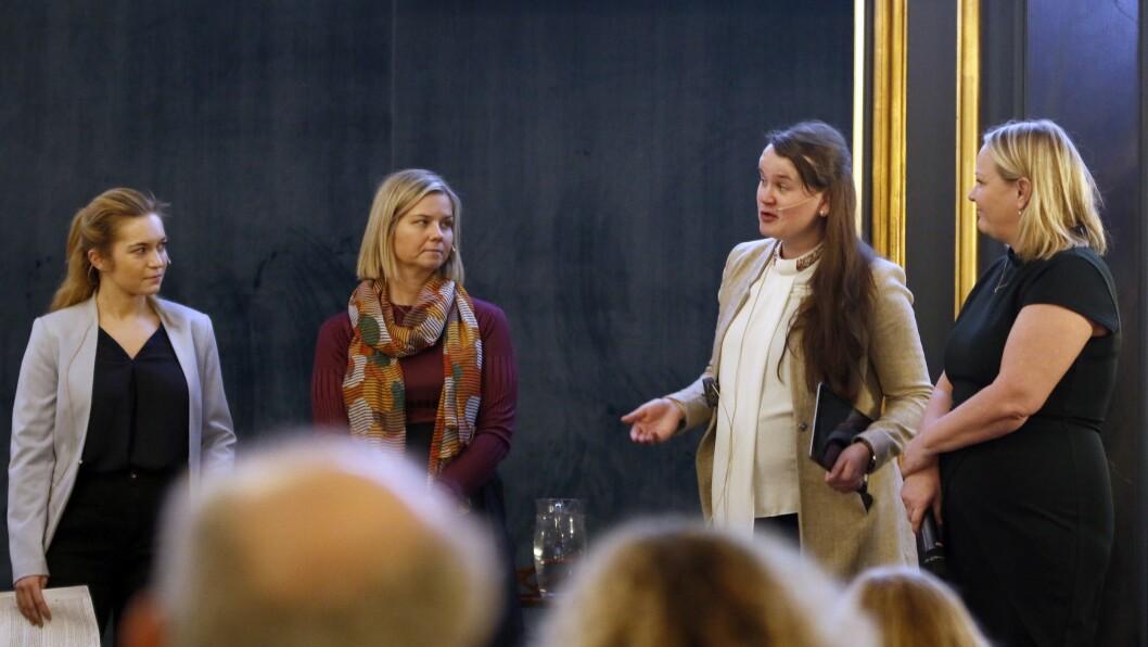Debatterte barnehageøkonomien: Fra venstre Mathilde Tybring-Gjedde (H), Guri Melby (V), Marit Knutsdatter Strand (Sp) og Mona Fagerås (SV).