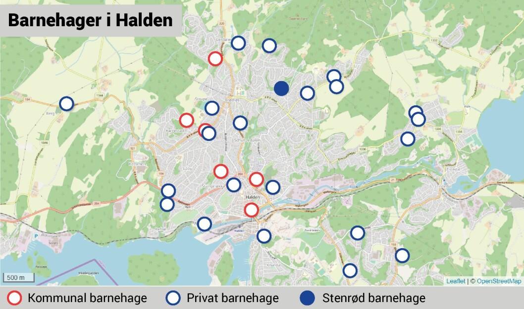 Det er 28 private og seks kommunale barnehager i Halden. I området der familien Dyrnes bor, er det flest private - og Stenrød barnehage er den nærmeste.