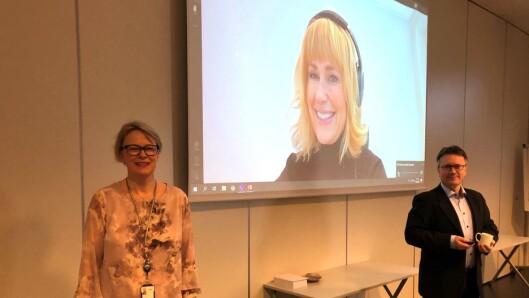 Fra venstre: Lise Marie Grøttland Brox, Anne Lindboe og Espen Rokkan gjennomførte medlemsmøte, onsdag..