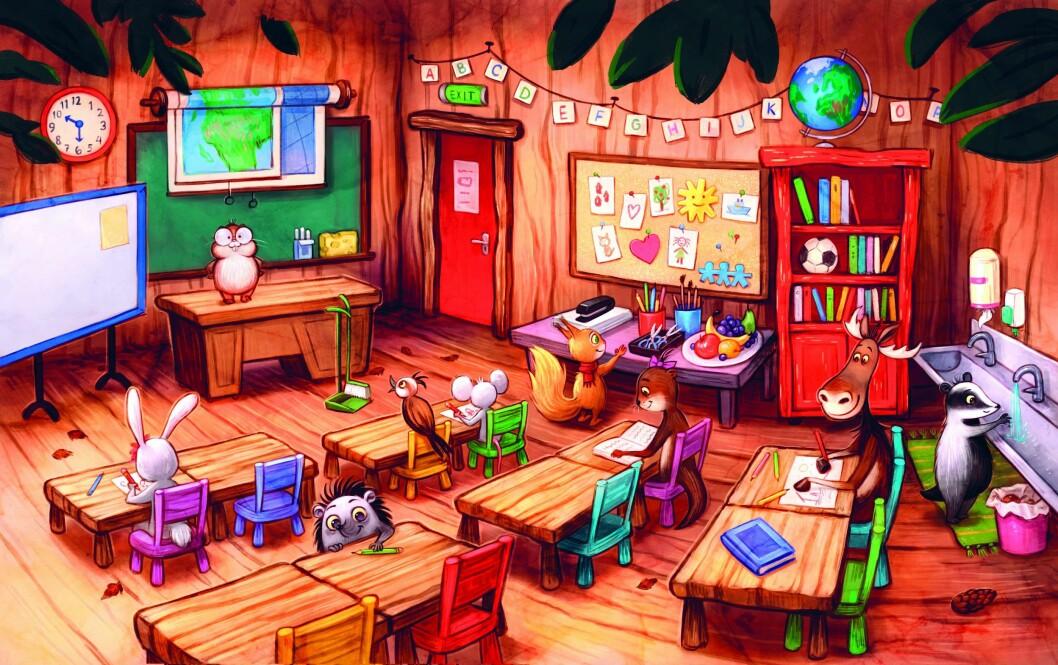 Her er klasserommet til førsteklassingene i boka.