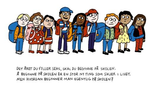 Illustrasjon fra Anna Fiskes bok <em>Hvordan begynner man på skolen? </em>