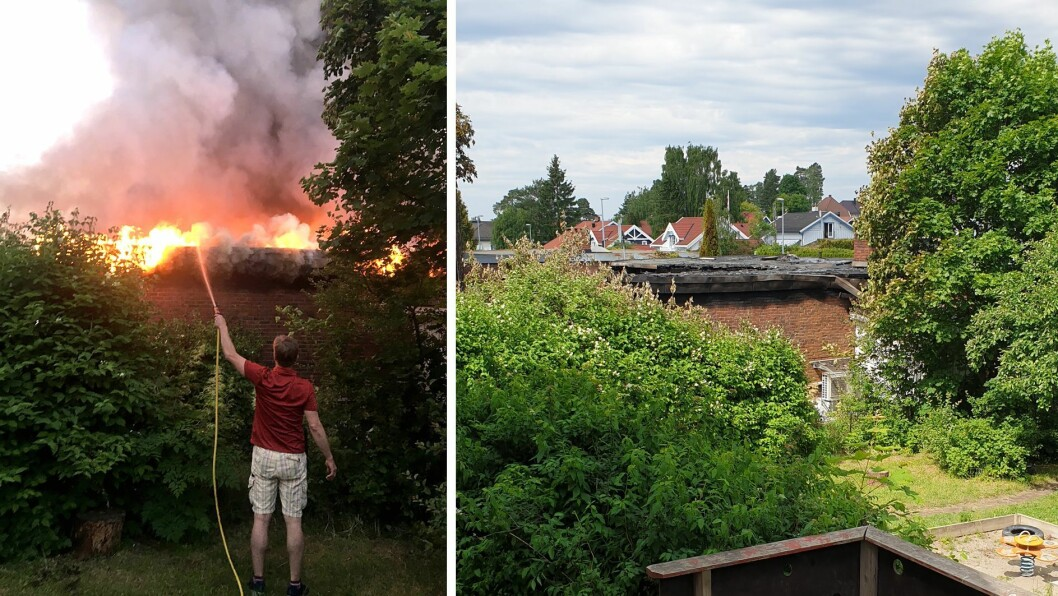 Til venstre står Arne Torgersen med vannslangen og pøser på med vann på huset og på hekken og treet ved siden av den dramatiske kvelden. Bildet til høyre er tatt fra inngangsdøren til barnehagen, og viser hvor nært brannen var.