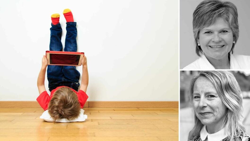 Margrethe Jernes (øverst) og Trude Hoel ved Universitetet i Stavanger har forsket på samtalebasert lesing av bildebok-apper i barnehagen.