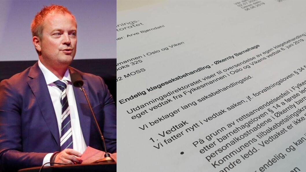 Utdanningsdirektoratet har konkludert med at Økernly Barnehage i 2014 hadde for lave personalkostnader. Nå må de tilbakebetale 800.000 kroner til Oslo kommune.