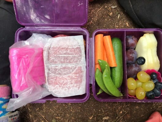 Guro Lund Eriksen i Rudshøgda Kanvas-naturbarnehage forteller om mange kreative løsninger for å holde maten kald i sommervarmen. Som her, med kjøleelement...