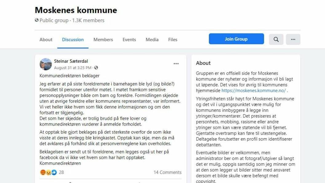 Kommunedirektør Steinar Sæterdal la ut en beklagelse på kommunens Facebook-sider etter foreldremøtet.