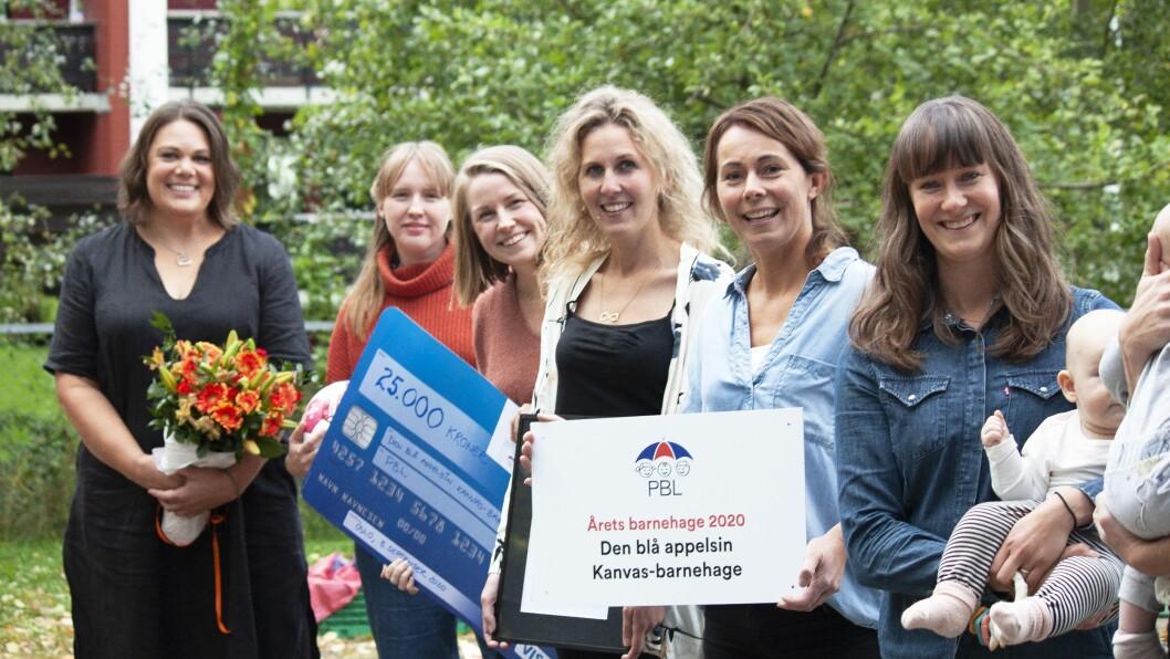– Det er stas å få en slik anerkjennelse, sier daglig leder Pia Katarina Halvorsen (helt til venstre i bildet).