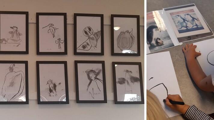Barna fikk blant annet utforske kullstift i arbeidet med utstillingen.