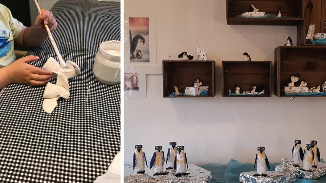 – Barna fikk inspirasjon fra maleriet «Sammen», hvor Vebjørn Sand bruker både pingviner og isbjørner sammen som venner i ett av bildene, forteller pedagogisk leder Irene Øien Berg.