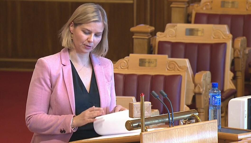 Kunnskapsminister Guri Melby (V) under den muntlige spørretimen på Stortinget.