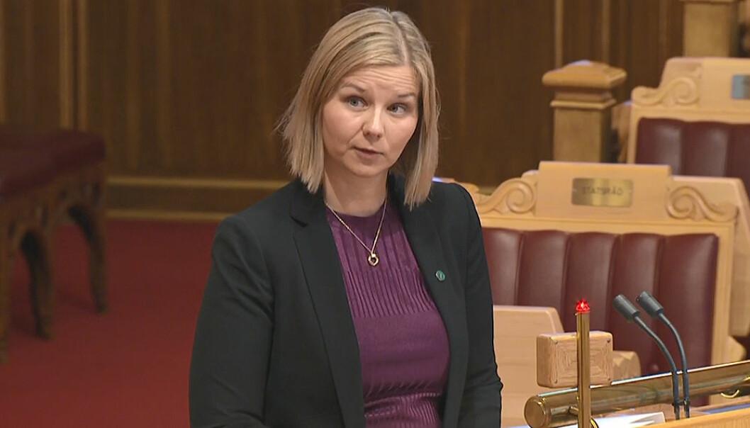 Guri Melby under spørretimen onsdag i forrige uke, hvor hun slo fast at barnehager vil få dekket høyere utgifter til pensjon