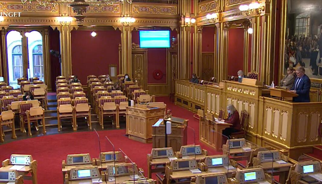 Stortinget sendte en klar bestilling til regjeringen. Her er det Hans Fredrik Grøvan (KrF) som er på talerstolen.
