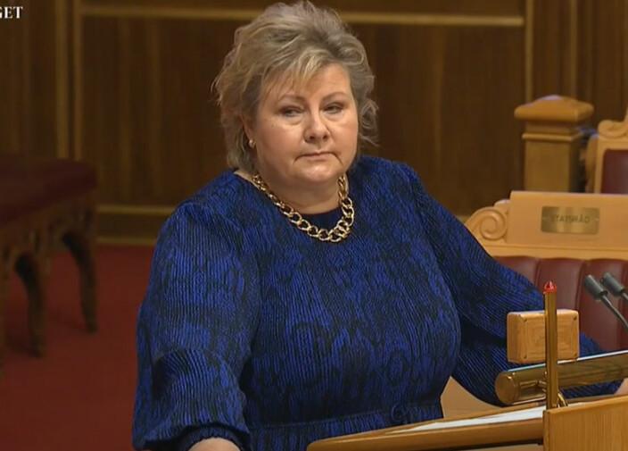 Solberg mener pensjonskutt er likebehandling mellom offentlige og private barnehager