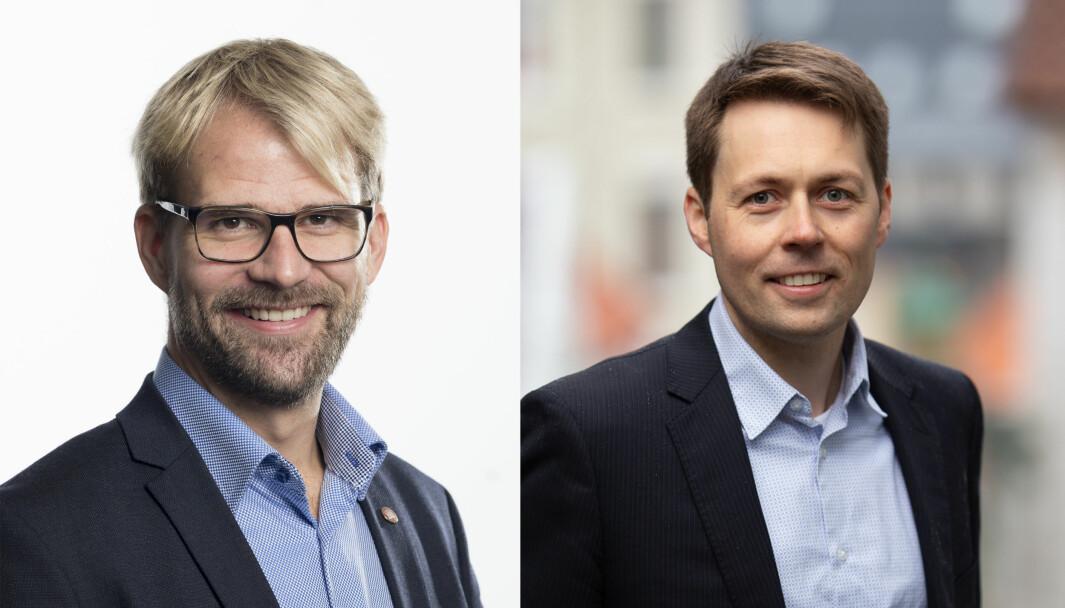 Byrådsleder Roger Valhammer (Ap) (til venstre) og styreleder i Akasia, Tor André Ljosland, skal i forhandlinger om kommunalt kjøp av Akasias barnehager i Bergen.