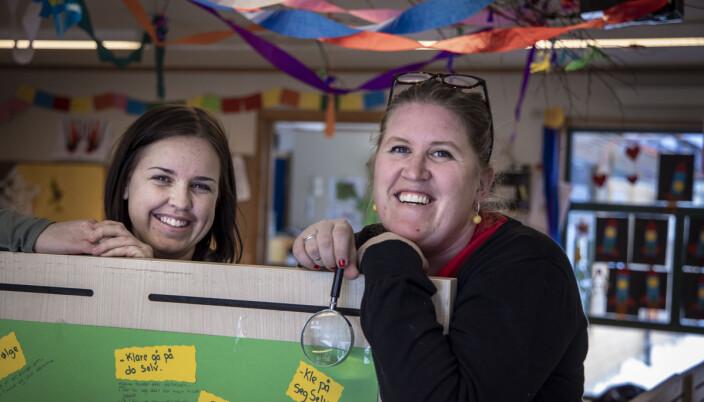 Styrer Kine Sander og pedagogisk leder Veslemøy Ihler-Aamelfot er begeistret for mysteriene i Kråkeslottet barnehage.