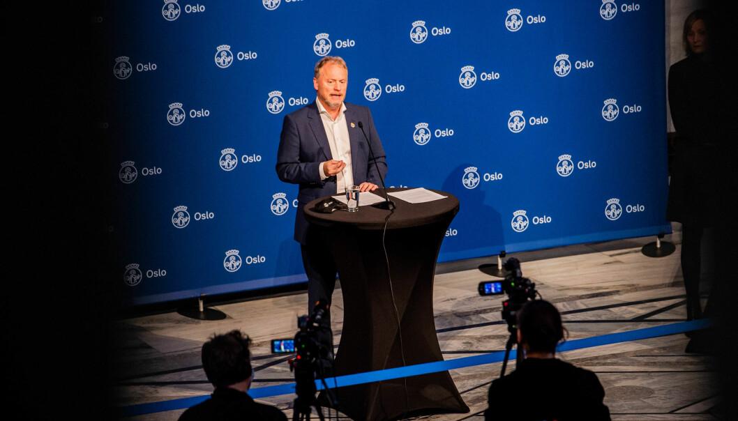Byrådsleder Raymond Johansen (Ap) under en pressekonferanse om koronasituasjonen i Oslo tidligere i vinter.