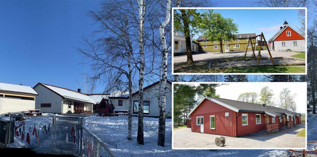 Fra og med august og det neste barnehageåret skal bemanningen økes i Semsbyen barnehage (nederst til høyre), Knapløkka barnehage (øverst til høyre) og Brekkeåsen barnehage i Tønsberg.