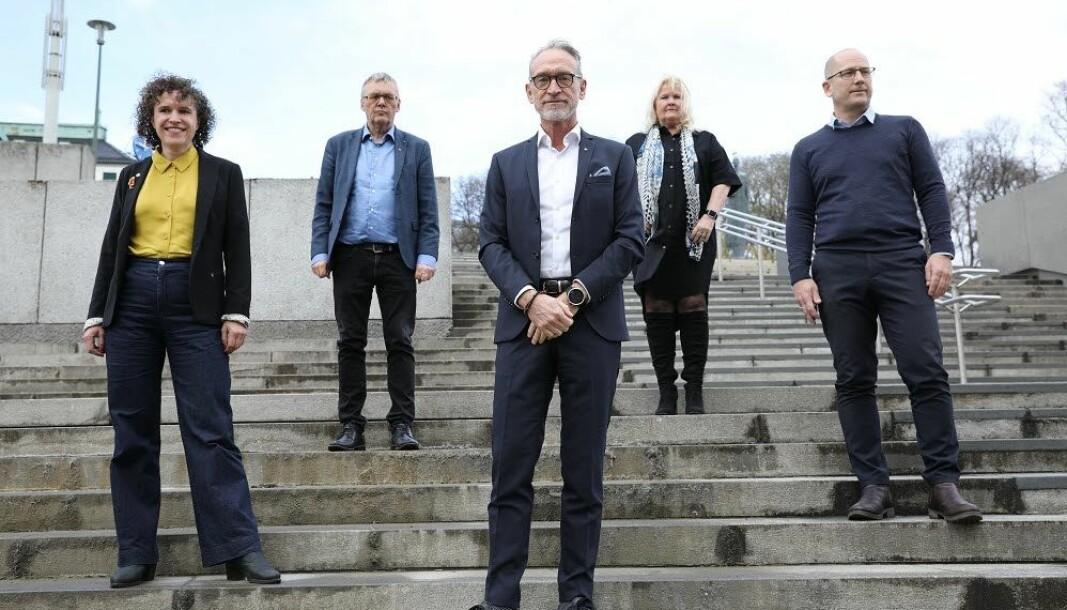 Tonje Leborg, Akademikerne kommune, Odd-Haldgeir Larsen, LO Kommune, Tor Arne Gangsø, KS, Lizzie Ruud Thorkildsen, YS-K og Steffen Handal, Unio.