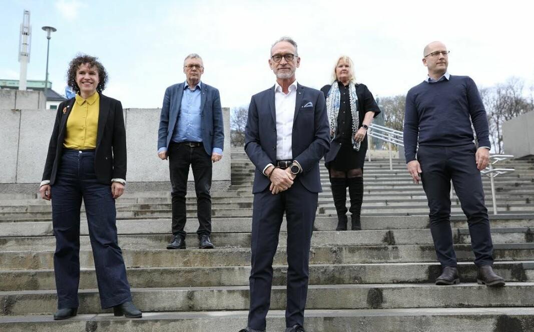 Tonje Leborg; Akademikerne kommune, Odd-Haldgeir Larsen; LO Kommune, Tor Arne Gangsø; KS, Lizzie Ruud Thorkildsen; YS-K og Steffen Handal; Unio.