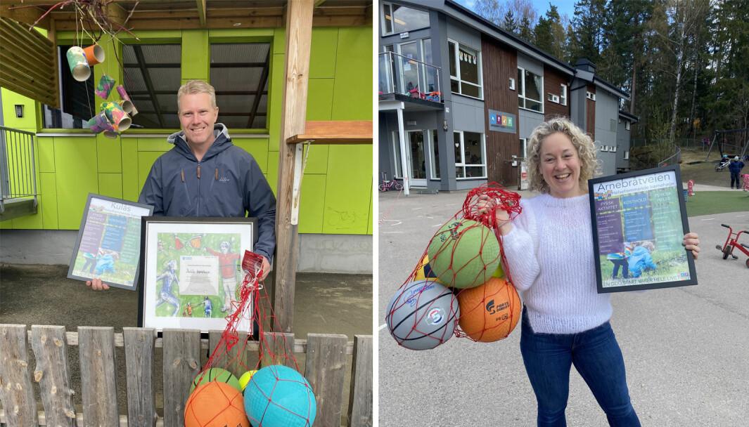 Styrer Vegar Andersen i Kulås barnehage i Sarpsborg og kollega Janne Storebø i Arnebråtveien barnehage i Oslo jobber begge i helsefremmende barnehager. Nylig satte de ekstra fokus på tematikken.