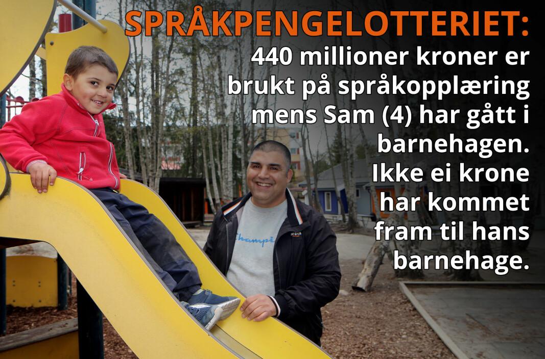 I løpet av de tre årene Sam (4)har gått i barnehage,har regjeringen bruktnesten 450 millionerkroner på å lære minoritetsspråklige barnehagebarn norsk.