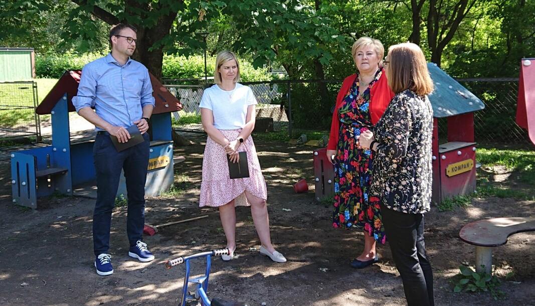 Torsdag møtte statsrådene Kjell Ingolf Ropstad (KrF), Guri Melby (V) og statsminister Erna Solberg i Eilert Sundts barnehage i Oslo for å legge frem sin nye barnehagestrategi.
