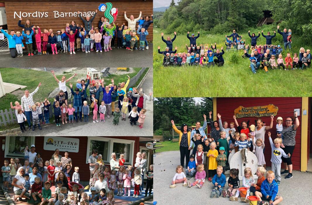 Nordlys Barnehage, NLM barnehagene AS, avd. Tryggheim barnehage, Strand Barnehage, Nordbygdene Bondegårsbarnehage og Læringsverkstedet Geitspranget naturbarnehage er årets nominerte.