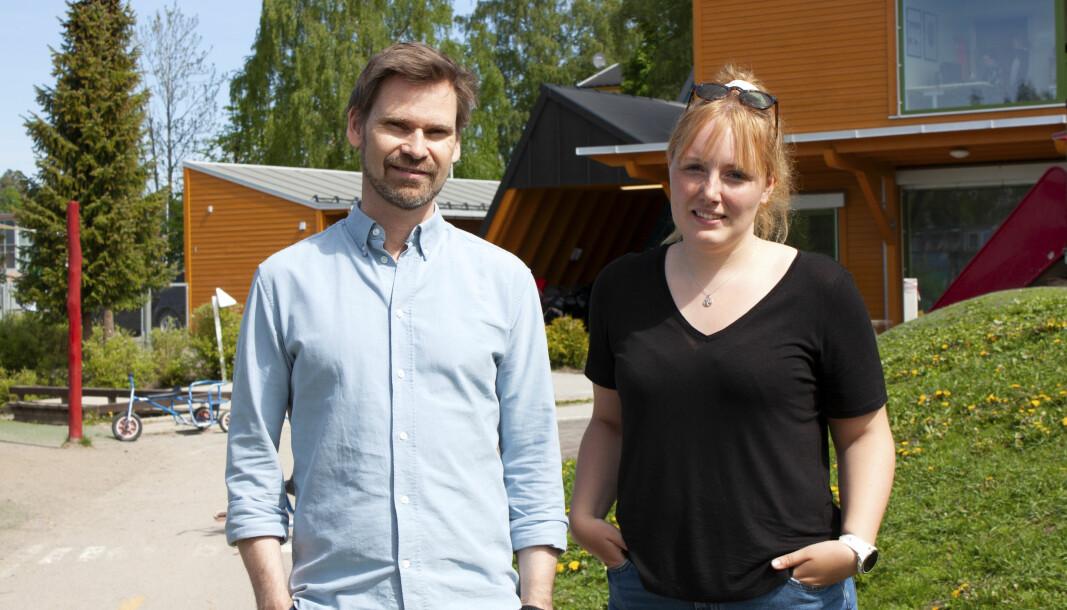 Kenneth Dirchsen og Louise Madsen er henholdsvis daglig leder og barnehagelærer i Bekkestua Kanvas-barnehage. – Når vi snakker språkarbeid og hvilke behov man har, kan man få til mye med lite midler, sier Dirchsen.