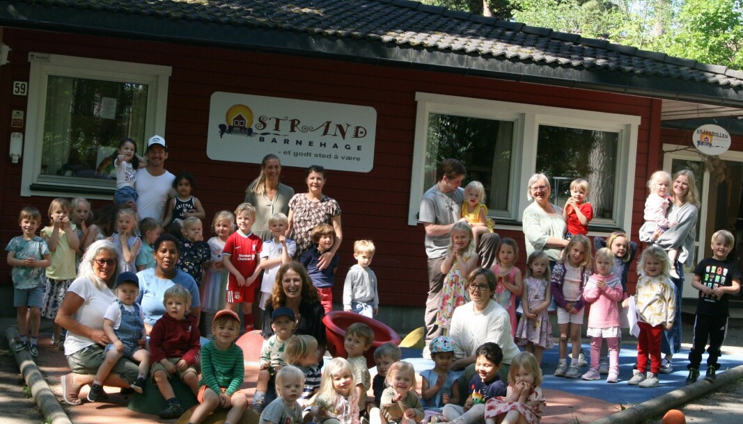 Strand barnehage i Bærum har 48 barn og 12 fast ansatte fordelt på tre avdelinger, nå kan de bli Årets barnehage.