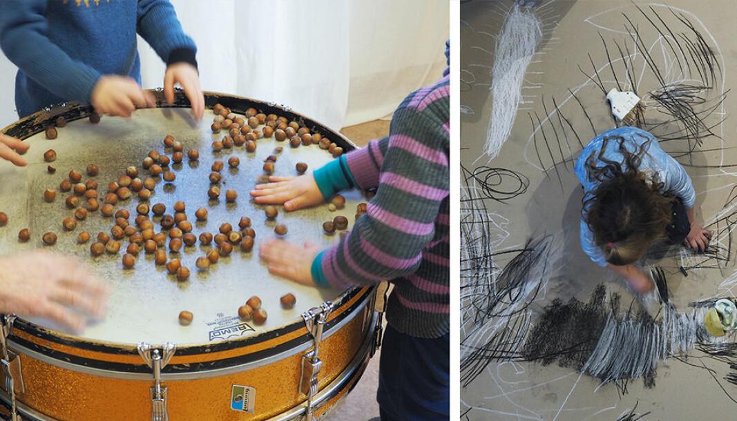 – Det kan virke befriende for både barn og pedagoger å møte verden og hverandre gjennom skapende prosesser, sier Lise Hovik som leder det kunstneriske forskningsprosjektet Lydhør i Kongsgården.