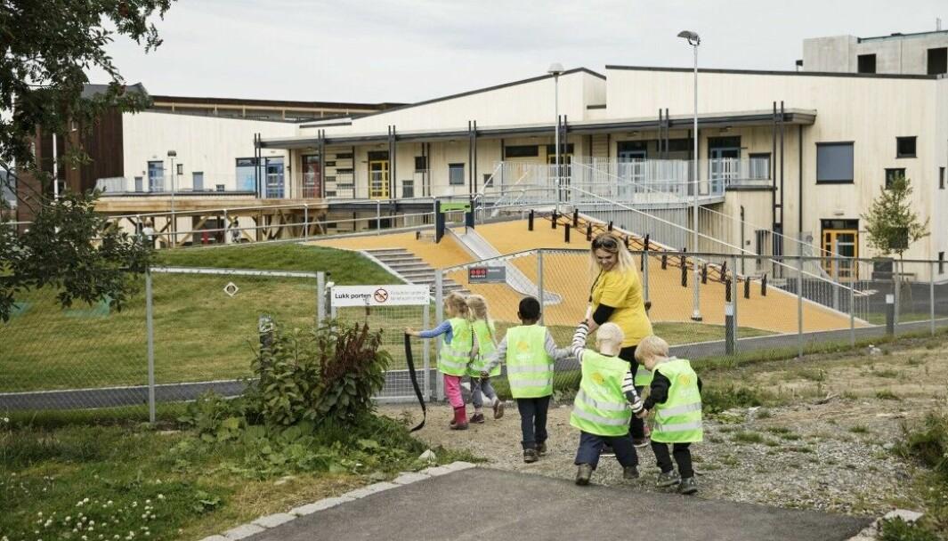Hvis Konkurransetilsynet gir tommel opp, blir de 17 barnehagene i Gnist-kjeden Norlandia-barnehager. Bildet er fra Gnist Tiller, og er tatt i en annen sammenheng.
