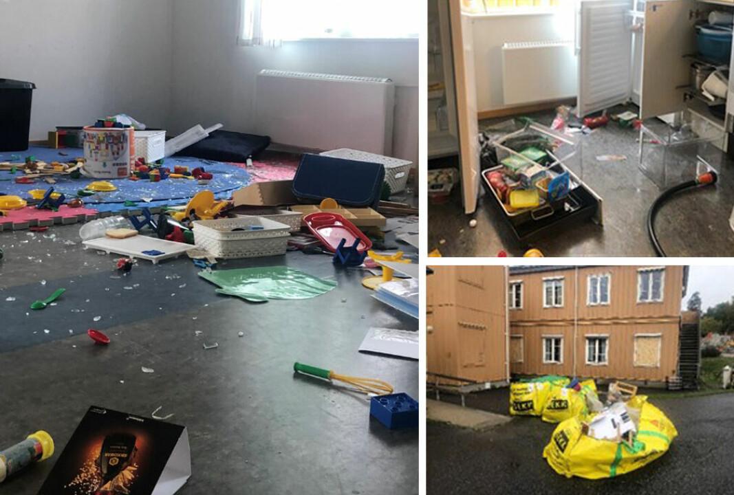 Slik så det ut da de ansatte i Østerås barnehage i Bærum kom på jobb mandag morgen. Nede til høyre er det bilde av noe av det som måtte kastes.