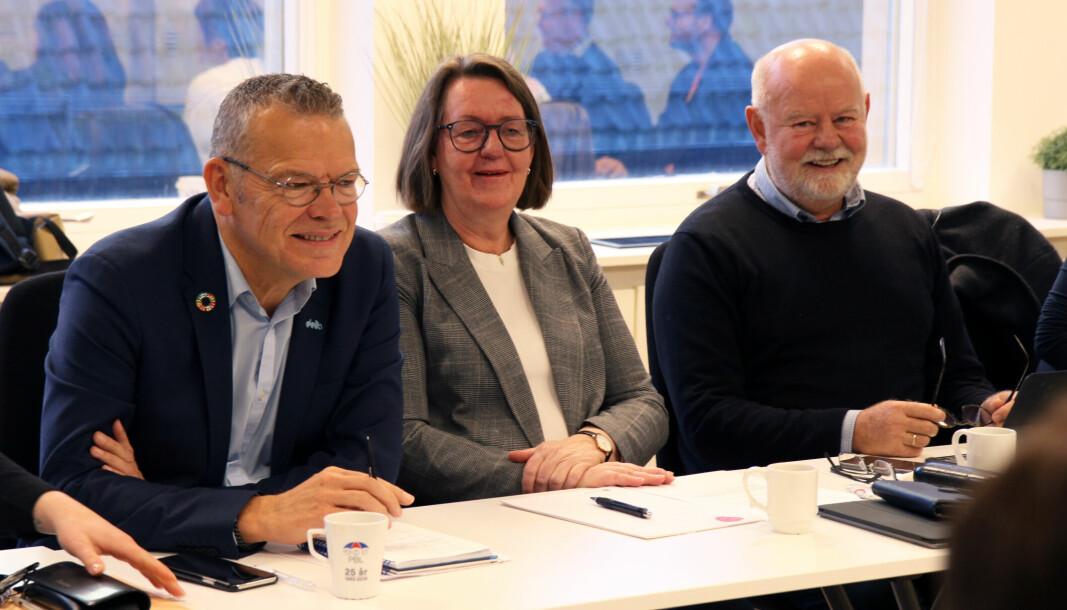 Klare for forhandlinger: Fra venstre Trond Ellefsen (Delta), Anne Green Nilsen (Fagforbundet) og Terje Skyvulstad (Utdanningsforbundet).