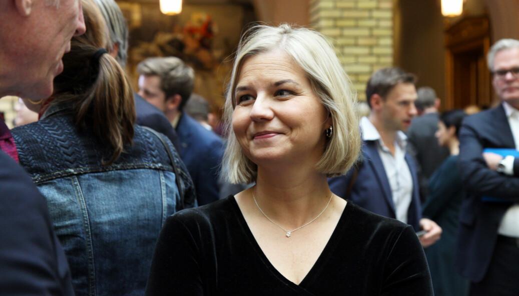Avtroppende kunnskaps- og integreringsminister Guri Melby etter budsjettframleggelsen tirsdag.